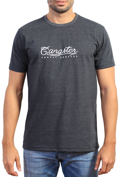 Gangster Camiseta Cinza Estampada