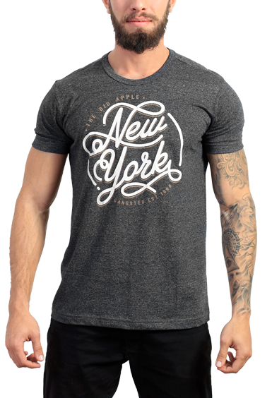 Gangster Camiseta  Cinza Estampada New York